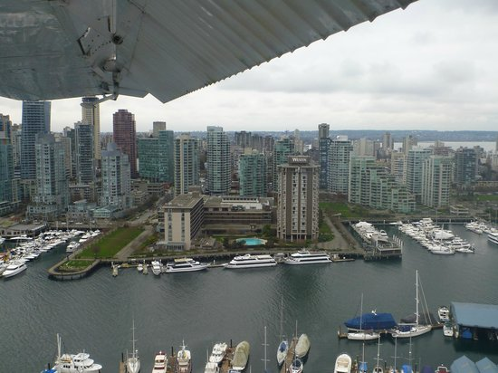 The Westin Bayshore, Vancouver: View of the Westin from a seaplane tour - perfectly located on Coal Harbour
