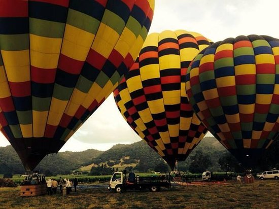 Balloons Above the Valley: Right before lift off!