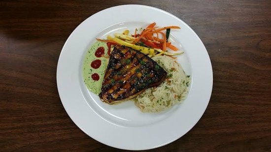Limestone Grille: Grilled Swordfish with Wasabi Herb Aoili & an Asian Stir Fry with Vegetables & RIce