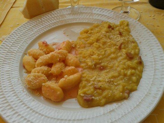 Borgo Priolo, Italia: Gnocchi in salsa rosa e risotto speck e zafferano
