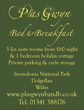 Plas Gwyn B&B & Cottage: Plas Gwyn Sign