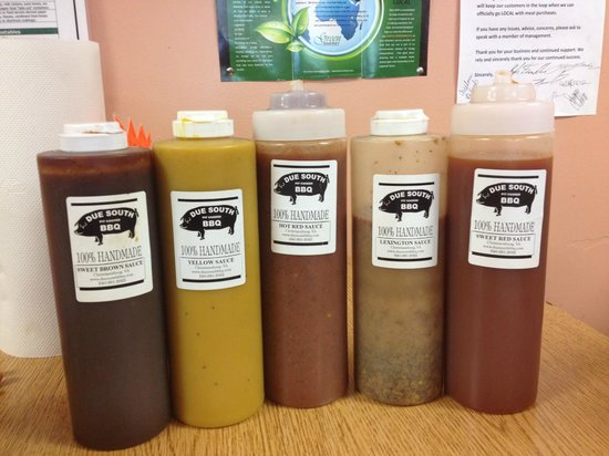 Due South Pit Cooked BBQ: Five great sauces right on your table