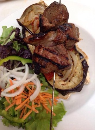 Beth's Kitchen Cafe : Lamb kabob with eggplant bruschetta and spring salad.