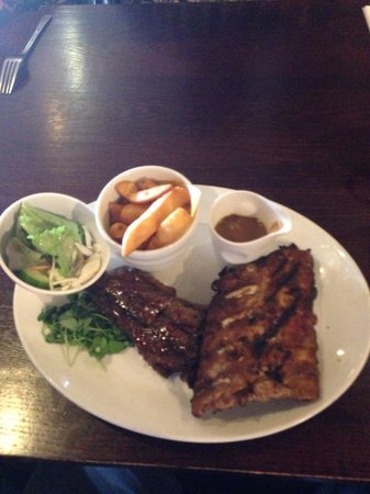 The Brecks Beefeater: 8oz steak with half rack ribs