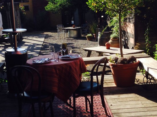 Delightful outdoor dining at Table 128 Boonville Hitel