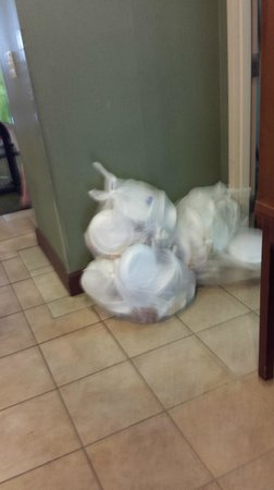 Holiday Inn Express Lexington: Garbage piled in doorway during breakfast