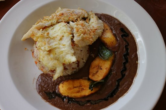 Victoria House: Seared Grouper with toasted Coconut/Coconut Rice Pilaf and black bean sauce