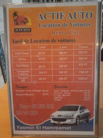 Club Marmara Hammamet Beach : Tarif location véhicules