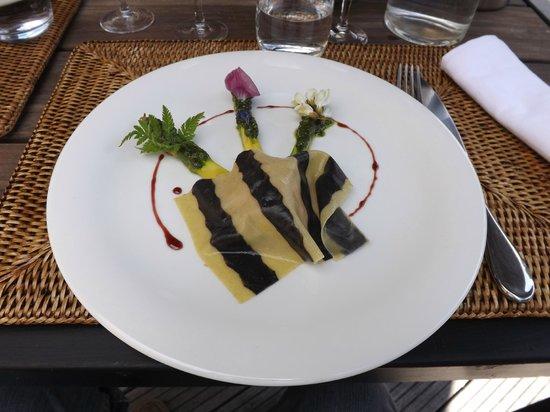 Les Jardins Sothys: gratin d'asperges et sa raviole
