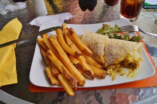 Cafe Bar Carizma: chicken roti & chips