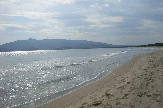 Spiaggia della Feniglia: sullo sfondo monte argentario con le antenne dei  ripetitori e il convento dei frati passionisti
