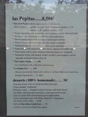La Pepita: Menu part 2