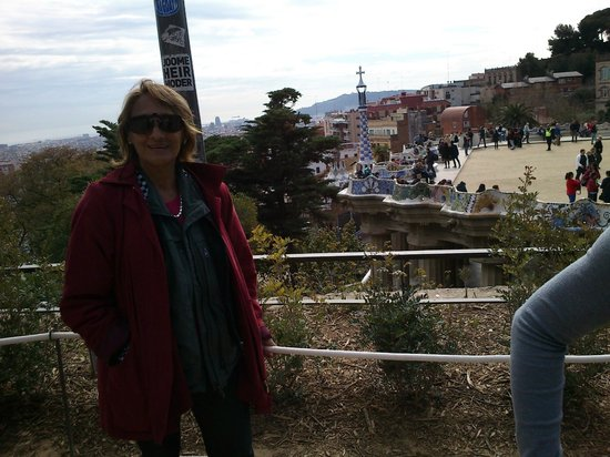 Park Güell: puede verse la lagartija de ceramicos