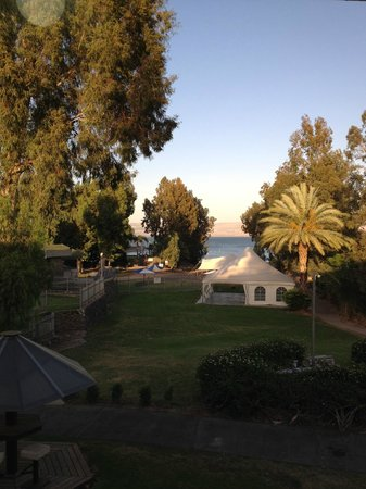 Nof Ginosar Hotel: looking from the dining room to the Sea of Galilee