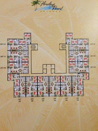 Floridays Resort Orlando: Localização dos apartamentos de 2Q e 3Q por pavimento