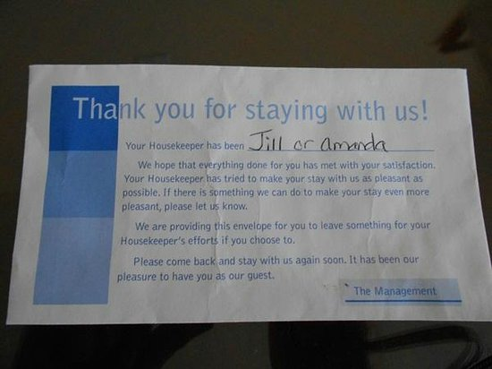 Simmons Motel and Suites : The note, not so subtly reminding you to tip your housekeepers.