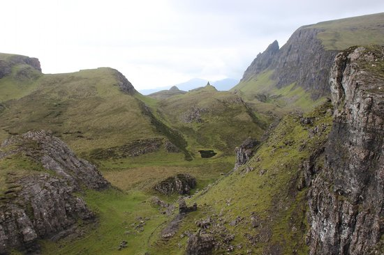 Quiraing: View back down the walk from the saddle.