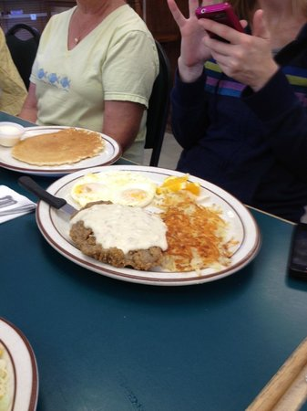 keene cafe: Chicken Fried Steak with pancakes