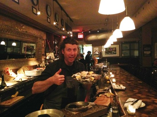 Pearl Diver: Patrick with a plate of fresh oysters