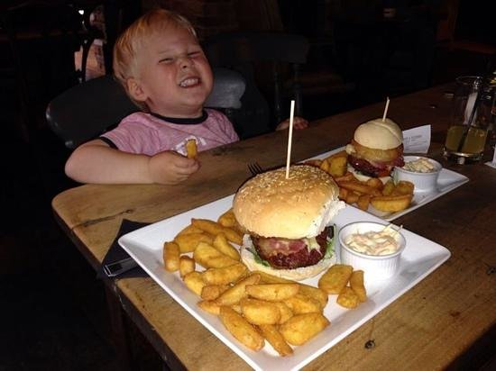 Foresters Arms: like father like son, my little boy enjoying hos mini burger stack