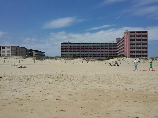 Holiday Inn Ocean City: a view of the pink hotel from the beach