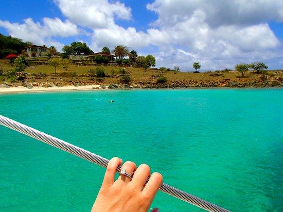 Catamaran Sailing Antigua : Where we anchored - Shell Beach