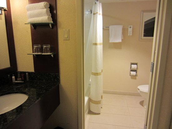 Jacksonville Marriott: Bathroom in upgrade room nothing special