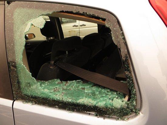 Middlesbrough, UK: Damaged car window in the car park