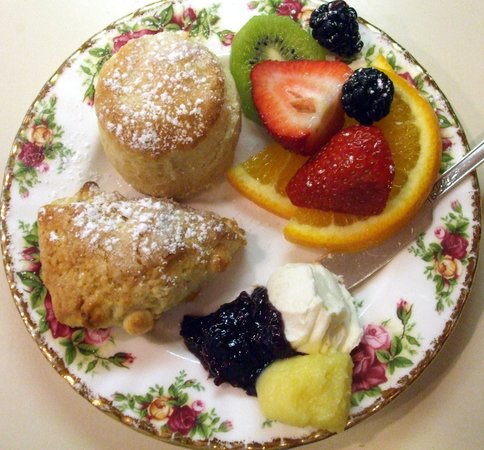 Sweet Remembrances : Fresh from the oven scones with cream and jelly.
