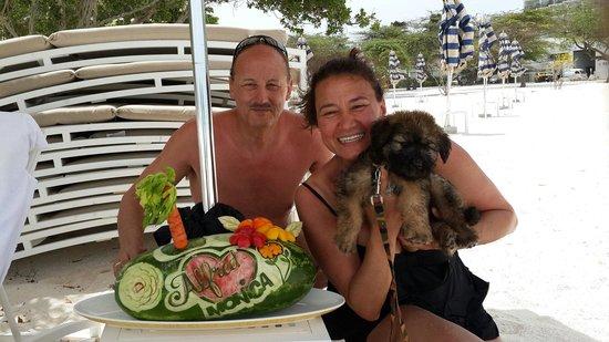 The Ritz-Carlton, Aruba: Mr.and Mrs.Boni... Happy anniversary....  watermelon made by Rodenn...