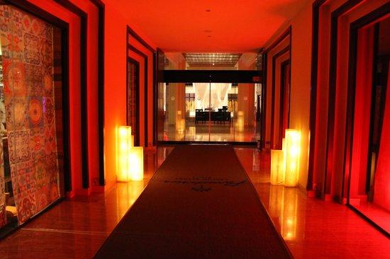 Paradisus Cancun : Walking into main building from pool at night.