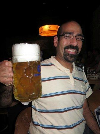 Lowenbrau Keller: Enjoying a big beer!