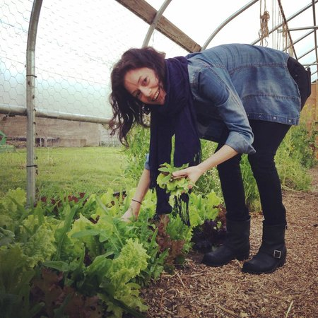 Inn at Valley Farms : picking fresh herbs in the garden for our salad