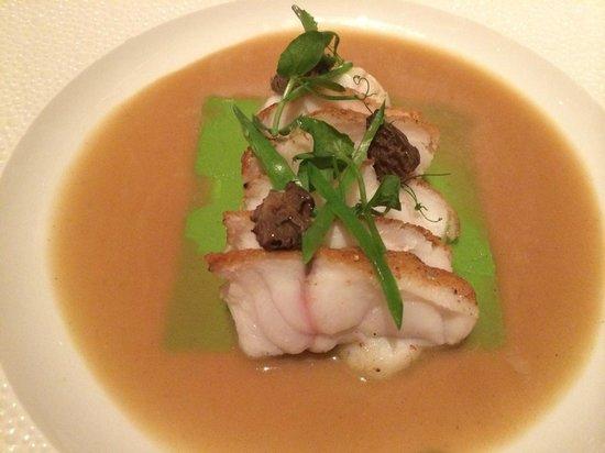 Le Bernardin: Pan roasted monkfish; tarragon scented pea puree, armagnac-black pepper sauce