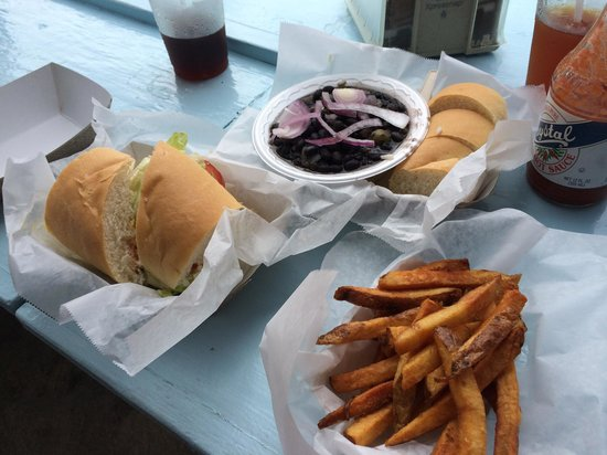 B.O.'s Fish Wagon: Cheeseburger, fries and their black beans and rice... All amazing!