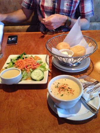 Jaker's: Dinner roll, green salad with honey mustard sauce, lobster bisque