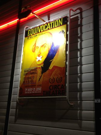 Circa Theatre: Equivocation poster near the entrance to the theatre