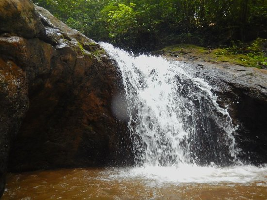 Costa Rica Waterfall Tours: sitting in one of the waterfall pools