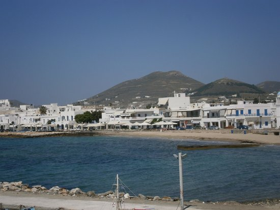 Pandrossos Hotel: view from bar to beach & town
