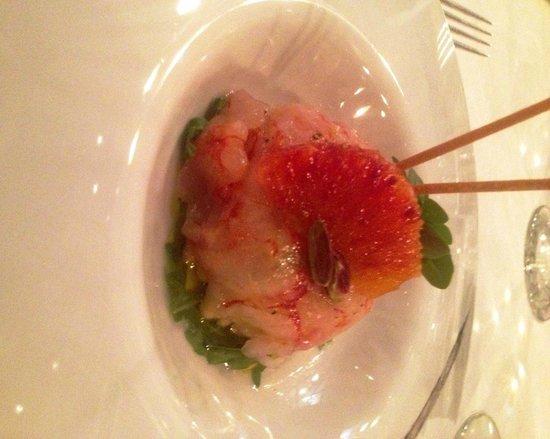 Gourmet Restaurant Ciampoli: gamberone crudo con burrata pistacchio e rucola