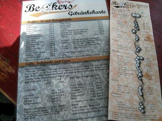 Beakers: Getränke- und Frühstückskarte