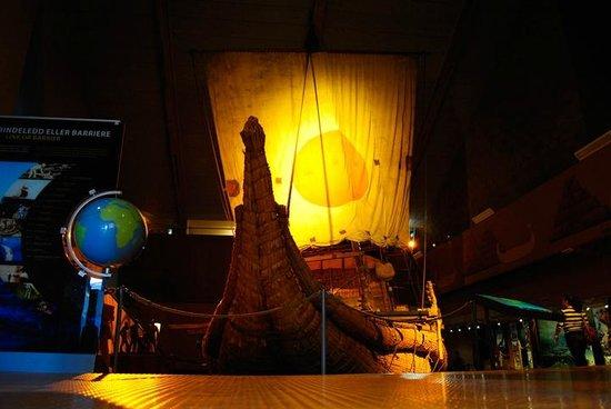The Kon-Tiki Museum : The papyrus boat Ra II in darkness