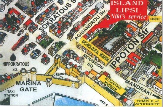Island Lipsi: Map of the restaurant