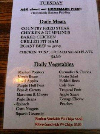 Red Rooster Cafe Hendersonville Menu