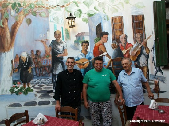 Taverna Alexandros: The staff and mural