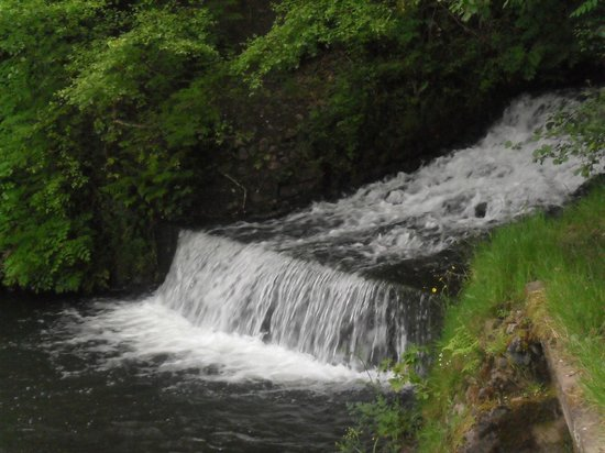 Dare Valley Country Park : Waterfall dropping into the lake
