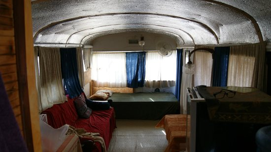 Shkedi's Camplodge : Honeymoon Bus living room