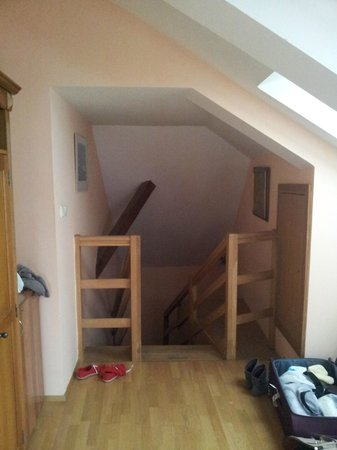 Hotel U Krale Jiriho : Эта лестница ведет вниз-к ванной комнате и выходу из номера