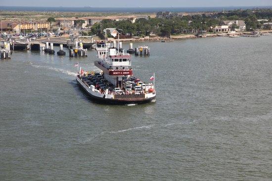 Galveston - Port Bolivar Ferry: Bolivar ferry taken from the cruise ship leaving the Galveston  ship channel.