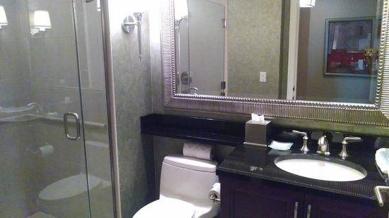 Signature at MGM Grand: Living area bathroom with shower. Tower 2. 11th floor Suite 720